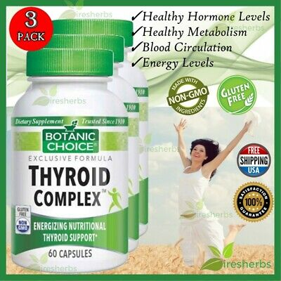 Thyroid Complex Best Botanic Choice Supplement Energy Support 180 Caps 3 Bottles