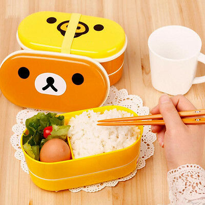 Cartoon Rilakkuma Lunch Box Food Container With Chopsticks High Quality