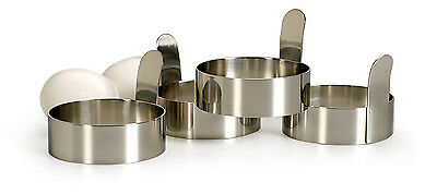 RSVP EGG/PANCAKE RINGS Set of 4 Stainless Steel with Handles Biscuit Cutters New
