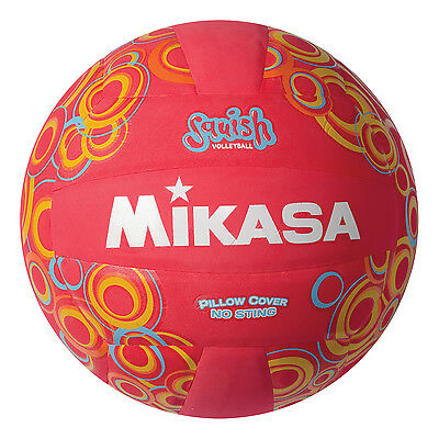 Mikasa All Purpose Volleyball Water Proof No Sting Cover Ball Red W Swirls