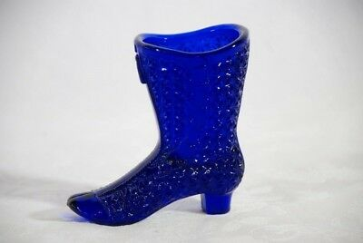 Vintage Moser Glass Cobalt Blue Button & Daisy Ladies High Top Boot Shoe