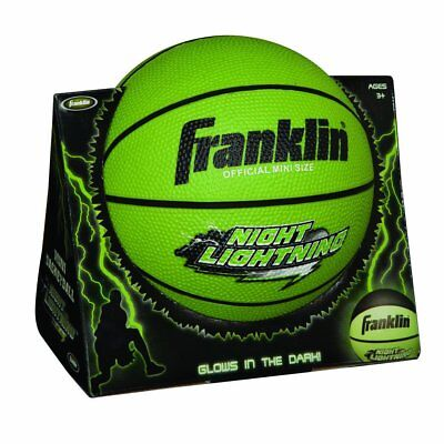 Franklin Sports Night Lightning Glow In The Dark Durable Rubber Mini Basketball