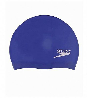 Speedo Adult Solid Silicone Swimming Dome Swim Cap - Blue, One-Size Stretch Fit