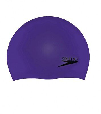 Speedo Adult Solid Silicone Swimming Dome Swim Cap, Purple, One-Size Stretch Fit