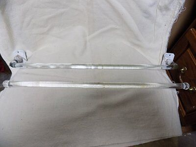 "2 Vintage Glass Towel Rods~One With Brackets~18""~Clear~Bathroom/kitchen~Nr!"