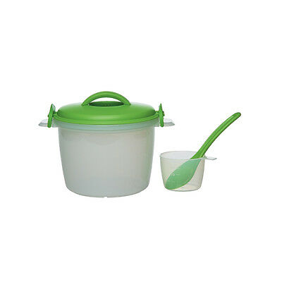 Prep Solutions By Progressive 6-Cup Microwavable Rice Cooker 4-Piece Set, Green