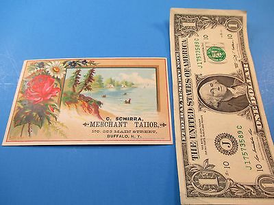 Antique Trade Card C. Shirra Merchant Tailor No 203 Main Street Buffalo, NY  TC1