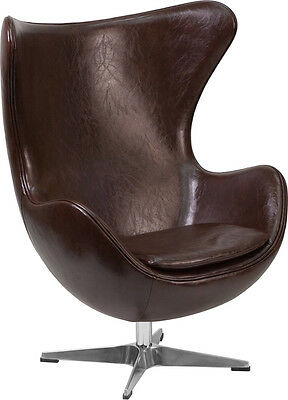 Flash Furniture Brown Leather Egg Chair with Tilt-Lock Mechanism