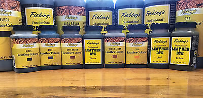 4oz and 32oz Fiebing's Institutional Leather Dye (Non-Flammable) Various Colors