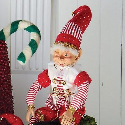 1fdc77bc05 Christmas Elf red and white costume 18 inches tall 51168b NEW posable elf
