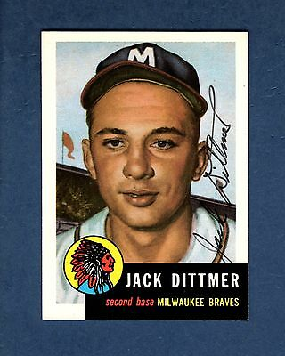 Autograph: JACK DITTMER 1928-2014, Braves 1953 Topps Archives card (1991)