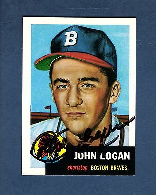 Autograph: JOHNNY LOGAN 1926-2013, Braves 1953 Topps Archives card (1991)