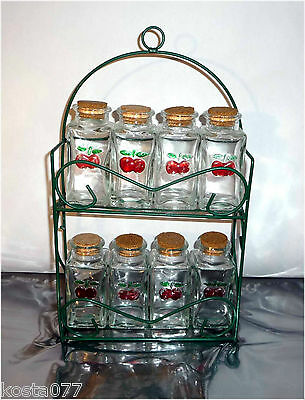 Vintage 60's Spice Glass Jars Set, Rack with Flacons, Bouteille, Cherry design