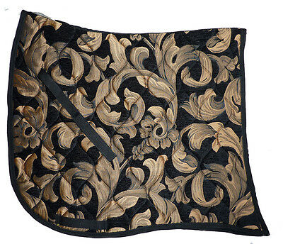 BLACK GOLD SWIRL SWALLOWTAIL   BAROQUE DRESSAGE SADDLE PAD - FRIESIAN andalusian