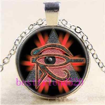 Eye of Horus Egyptian Cabochon Glass Tibet Silver Chain Pendant Necklace