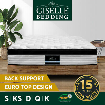 QUEEN DOUBLE KING SINGLE Mattress Size Bed Euro Top Pocket Spring Foam 31CM