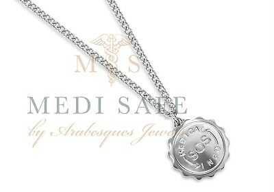 Stainless Steel Ladies/men Sos Pendant/medical Emergency Id Info Silver Talisman