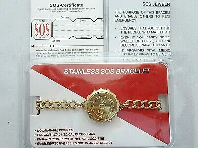 Stainless Steel Sos Bracelet/medical Information/emergency/alert Gold Talisman