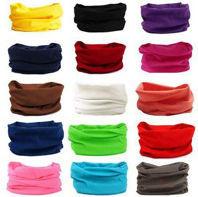 Bandana Head Face Mask Neck Gaiter Snood Headwear Beanie Solid Color Tube Scarf.