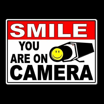 Smile You Are On Camera Sign Metal warning video surveillance security ms005