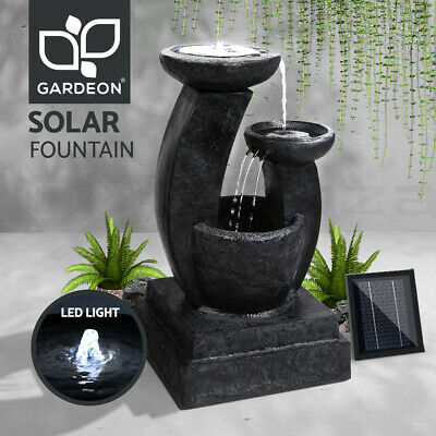 Solar Power Fountain Feature Three-Tier Bird Bath Outdoor Fountains Water Pump