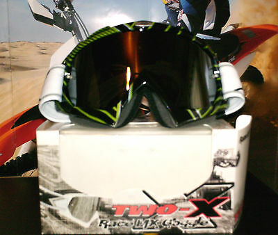 TWO-X Brille Quad MX Enduro NEU Iridium Clear Lens Scott Kawasaki KX verspiegelt