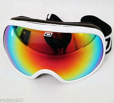 Dirty Dog Goggles Adult Unisex White Scapegoat Ski Snowboard Red Mirror Lens