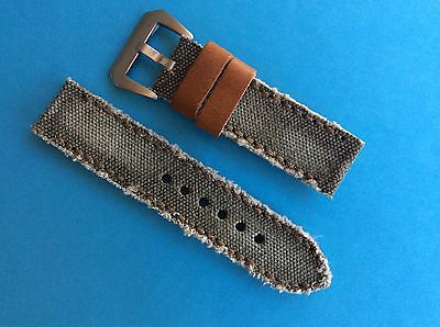 Uhrband In the Army now Canvas/Leder 24mm Khaki Replacement Strap Band