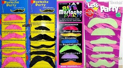 Pk of 6 Black,Colours Stick on Fake Moustache Self Adhesive Party Joke Mustache,