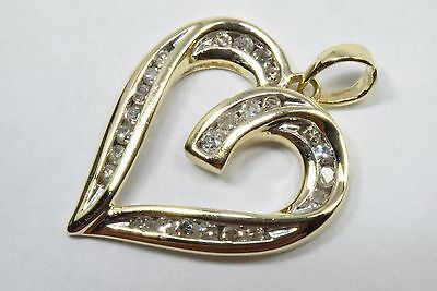 Women's .375 ct Diamond G/SI1 Heart Pendant in 10k Solid Yellow Gold VG Cut