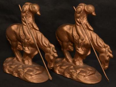 Antique Vintage Solid Heavy Bronze End Of The Trail Bookends