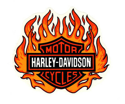 "6-1/2"" Genuine Harley Davidson Flame Bar Shield  ~ Inside Window Decal Sticker!"