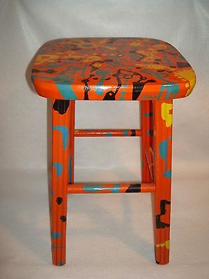 Really Cool Artsy Fartsy Hand Decorated Stool Artist Signed Crule Multi-colored