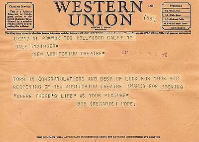 Rare Telegram 1947 Bob Hope Hollywood to Theatre in Newark OHIO LEGEND ACTOR WOW