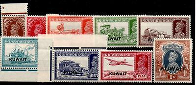 KUWAIT SG36/47 1939 SET TO 1r OVPT ON INDIA MTD MINT