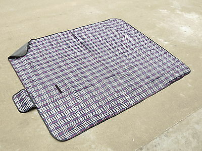 Blue Checker Beach Camping Picnic Travel Carry Rugs Carry Mat Blanket 150*180