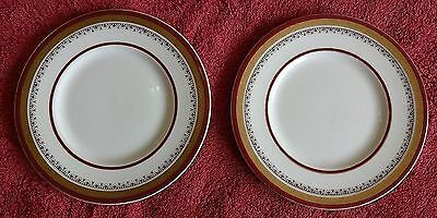 Lot Of 2 Myotts Royal Crown Sandwich Plates English Ware Gold Inlay