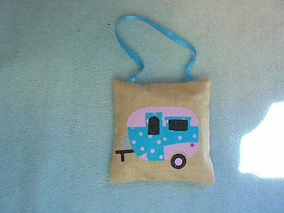 Handcrafted Retro Camper Trailer Appliqued Balsam Filled Pillow Ornament Blue