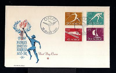 10005-NORWAY-FIRST DAY COVER OSLO.1961.SET WINTER GAMES.Sports.NORGE.Norvege.FDC