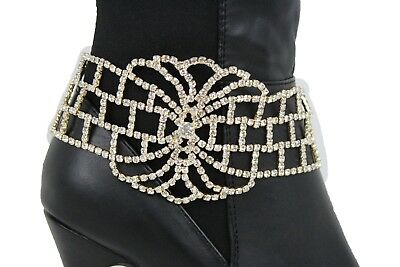 Women Boot Bracelet Silver Metal Chains Bling Anklet Shoe Charm Multi Wave Links