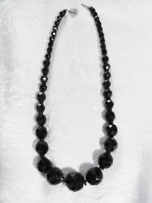 Black Jet necklace choker Antique Sterling Silver clasp Faceted Glass Beads