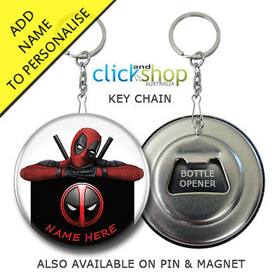 DEADPOOL PERSONALISED NAME Key Ring Chain Badge | Keyring Keychain | Dead Pool