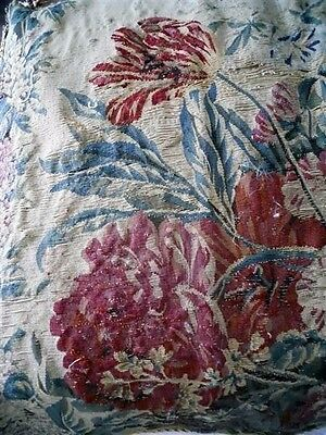 Aubusson  Tapestry Antique French 17Th-Century   Chateau Wine Bordeaux Flowers