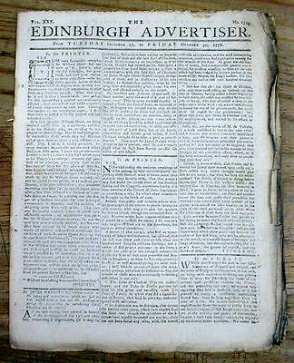Original 1778-1781 American Revolutionary War newspaper from EDINBURGH Scotland