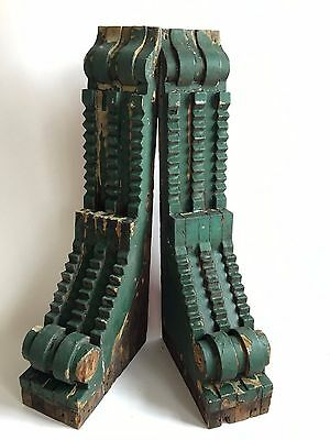 "Antique Pair(2) 1890's Wood Corbels Brackets Victorian Green 5"" x 26"" A5"