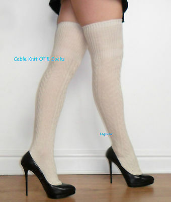 6a9a8be1940 Cable Knit Over The Knee High OTK Socks Womens Long School Girl Soft Skirt  Thigh