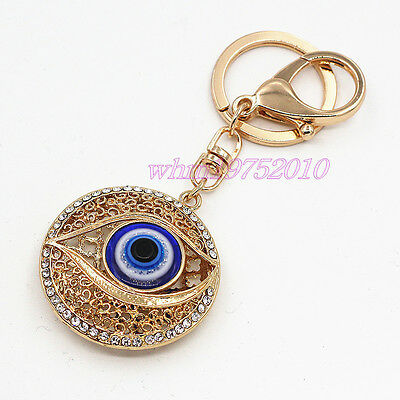 Womens Turkish Blue Evil Eye Crystal Pendant Key Chain Bag Charm Lucky  Keyring 7dc66010bc