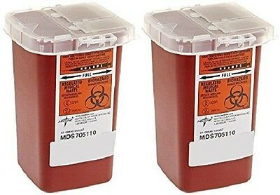 2 Pack --Medline 1 Quart Sharps Container Biohazard Needle Disposal Tattoo