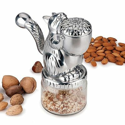 RSVP Nut Grinder Cast Aluminum Squirrel With Glass Base For Baking Or Cooking