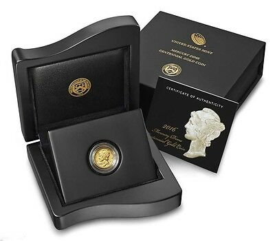 2016 W 1/10 Gold Mercury Dime Centennial Commemorative Coin In Box W/ Coa 16Xb